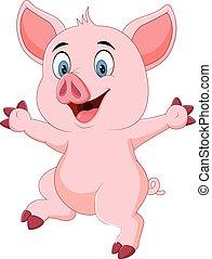 Cartoon funny pig waving hand