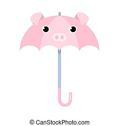 Cartoon funny pink umbrella with pig animal face vector illustration