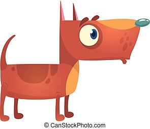 Cartoon funny pitbull dog. Vector illustration.