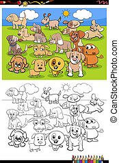 cartoon funny puppies group coloring book page