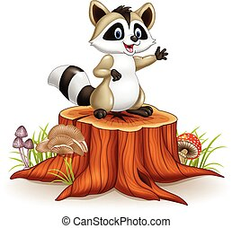 Cartoon funny raccoon cartoon waving hand on tree stump