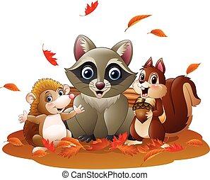 Cartoon funny raccoon, hedgehog - Vector illustration of...