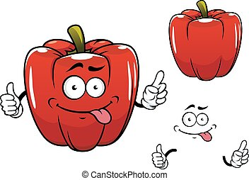 Cartoon funny red bell pepper vegetable character - Red...