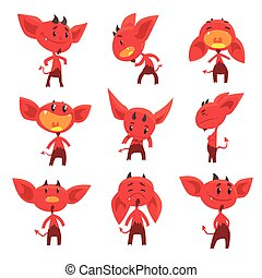 Cartoon funny red devil characters with different emotions...