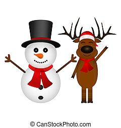 Cartoon funny reindeer and snowman waving hands isolated on white