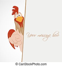 Cartoon funny rooster look out from empty banner