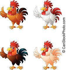 Cartoon funny rooster giving thumb
