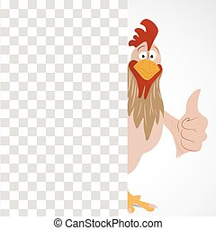 Cartoon funny rooster with thump up looking out from empty...