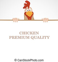 Cartoon funny rooster looking out from empty banner