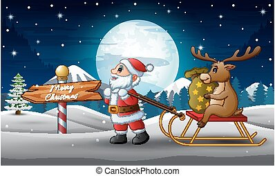 Cartoon funny santa claus pulling a sleigh with a deer with sack of presents