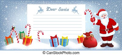 Santa Claus with striped candy and layout letter with list wish to Santa Claus and many gift boxes