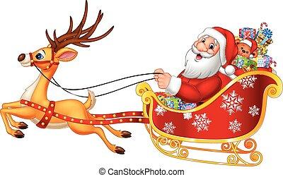Cartoon funny Santa in his sled