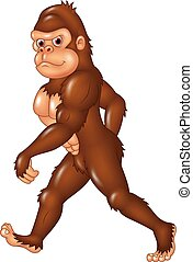 Cartoon funny Sasquatch walking