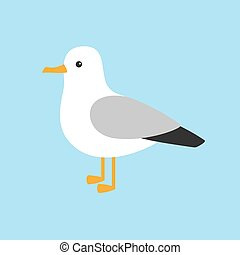 Cartoon funny seagull posing isolated on blue background