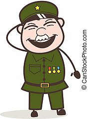 Cartoon Funny Sergeant Laughing Vector Illustration