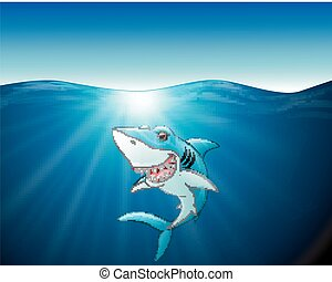 Cartoon funny shark on the sea