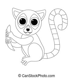 Cartoon funny sitting lemur with a banana. African animals. Geometric style. Coloring illustration