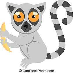 Cartoon funny sitting lemur with a banana. African animals. Geometric style. Flat illustration
