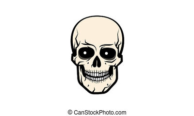 Cartoon funny skull moving jaw and pupils in different...