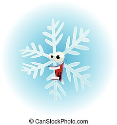 Cartoon Funny Snowflake Character
