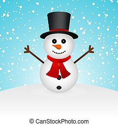 Cartoon funny snowman in the forest