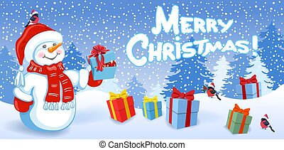"Cartoon funny Snowman with gift box, birds bullfinch in Sants hat on background of Christmas snowfall in forest and inscription ""Merry Christmas"". New Year and Christmas vector illustration."