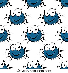 Cartoon funny spiders seamless pattern