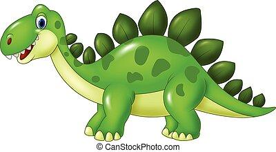 Cartoon funny Stegosaurus mascot - Vector illustration of...
