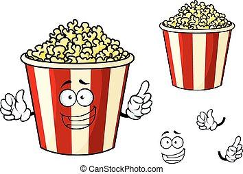 Cartoon funny striped box of popcorn