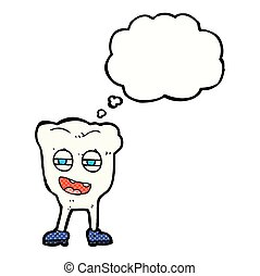 cartoon funny tooth character with thought bubble