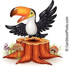 Cartoon funny toucan on tree stump