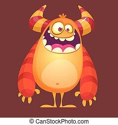 Cartoon funny troll or gremlin. Vector illustration of cute monster