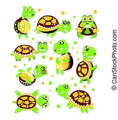 Cartoon funny turtle, set for label design. olorful character vector Illustration