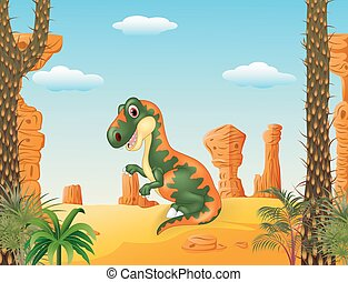 Cartoon funny tyrannosaurus - Vector illustration of Cartoon...