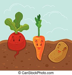 Cartoon funny vegetables