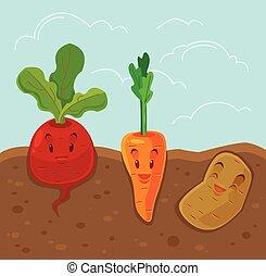 Cartoon funny vegetables