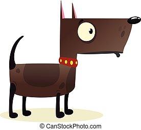 Cartoon Funny Watchdog Pitbull Dog Illustration.