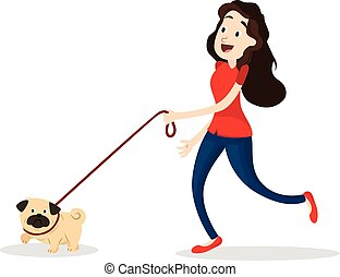 Cartoon funny woman walking with dog