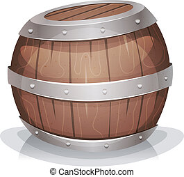 cartoon-funny-wood-barrel - Illustration of a cartoon wooden...