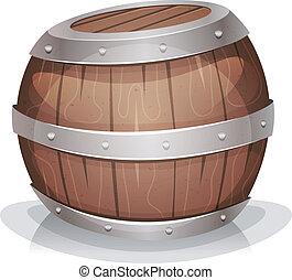 cartoon-funny-wood-barrel - Illustration of a cartoon wooden...
