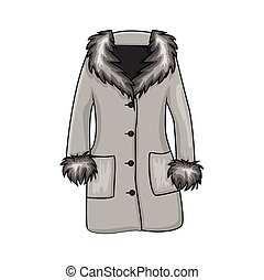 Cartoon fur winter coat isolated on white background