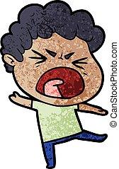 cartoon furious man