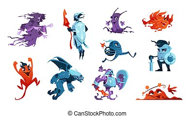 Cartoon game monsters. Alien creatures and mascot characters. Boss of enemies and beasts. Gaming design elements set. Fairy knights or creepy ghosts with evil faces. Vector scary mutants