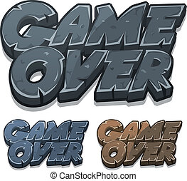 Cartoon Game Over Icon For Ui Game - Illustration of a set...