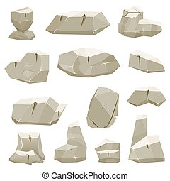 Cartoon Game Stones. Vector Illustration.