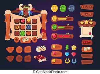 Cartoon game ui. Wooden buttons, sliders and icons. Interface for 2d games, app gui vector design