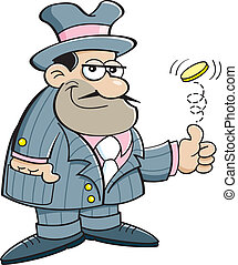 Cartoon illustration of a gangster flipping a coin.