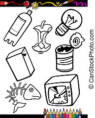 cartoon garbage objects coloring page - Coloring Book or...