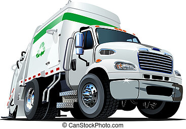 Cartoon Garbage Truck isolated on white background....