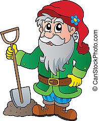Cartoon garden dwarf - vector illustration.